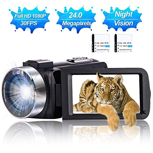 Camcorder Video Camera Vlogging Camera Full HD 1080P 30 FPS 24.0 MP YouTube Digital Camera with IR Night Vision 3.0