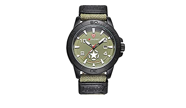 Amazon.com: Mens Luminous Military Analog Date Sport Wrist Watch Green Canvas Casual Watch with Star Pattern: Watches