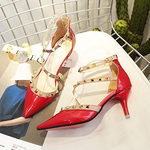 fine con punta sandali rosso 36 Rivetto scarpe cinturino 16px4qqw