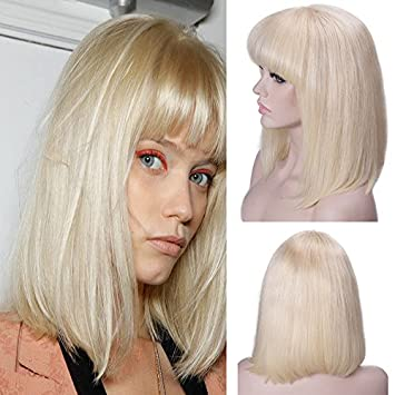 with hair wig blonde Short bangs