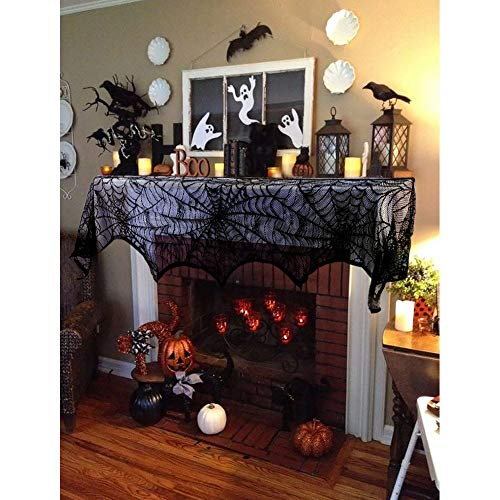 FeChiX Halloween Decoration Black Lace Spiderweb Fireplace Mantle Scarf Cover Festive Party Supplies 18 x 96 inch