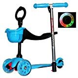 Rimable Adjustable Height 3in1 Kick Scooter With Light Up Wheels (BLUE)
