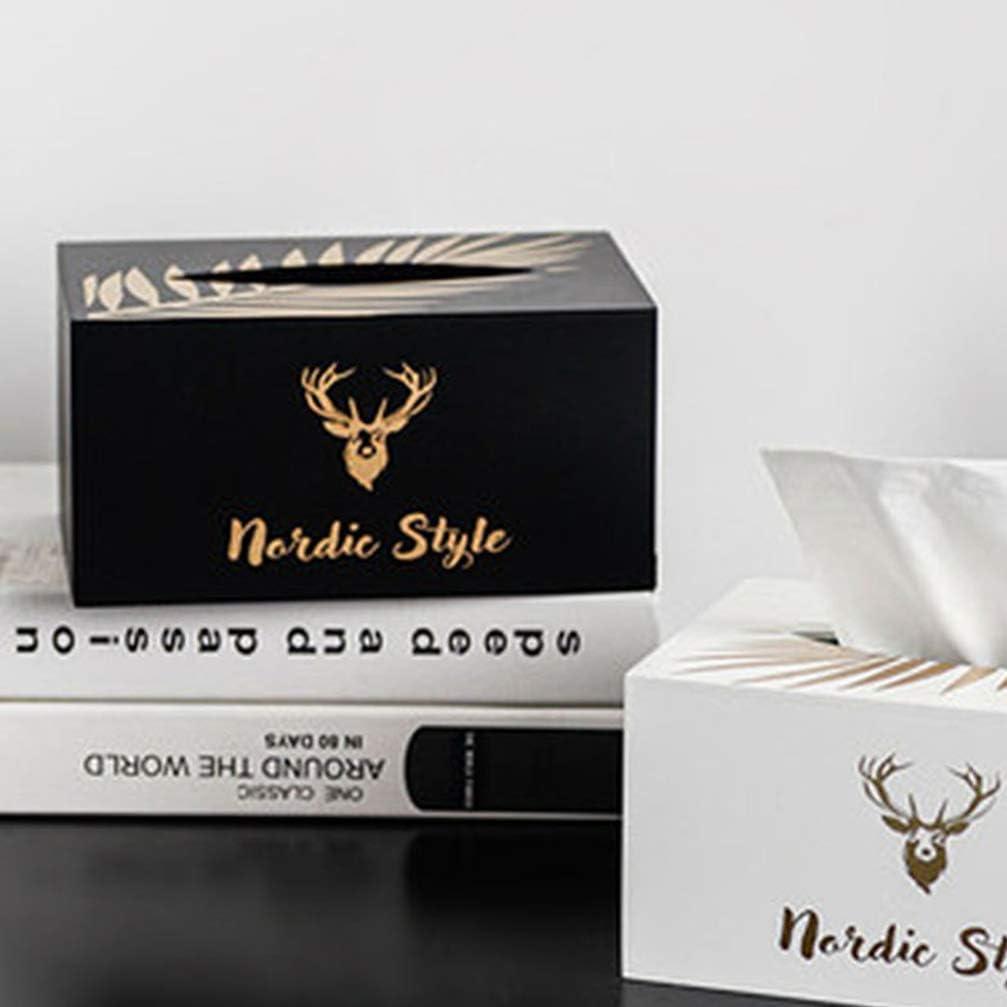 Healifty Wooden Tissue Box Cover Elk Pattern Paper Towel Holder Napkin Holder for Bathroom Kitchen Office