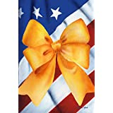 Toland Home Garden USA Strong 12.5 x 18 Inch Decorative Colorful Patriotic Support Yellow Ribbon Garden Flag