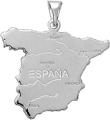 So Chic Joyas - Colgante España Mapa España Plata 925: Amazon.es ...