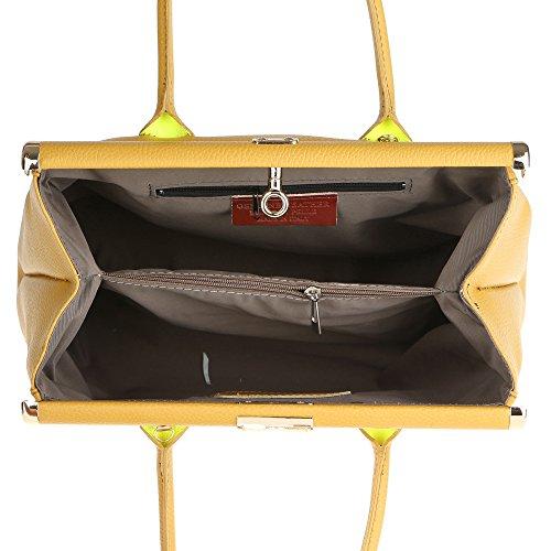 Vera a Borsa Senape Tracolla in Pelle Donna da Borse Handbag in con 35x28x16 Made Mano Cm Chicca Italy tE4vqT