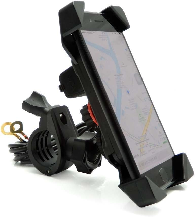 """Motorcycle Phone Mount Holder with USB Charger Port Universal for 7/8"""" Handlebar Cradle Holder for Smartphone GPS, iPhone/Plus-Motorcycle Yamaha FZ07 Vstar 650 Ducati KTM KLR650 R1200GS"""