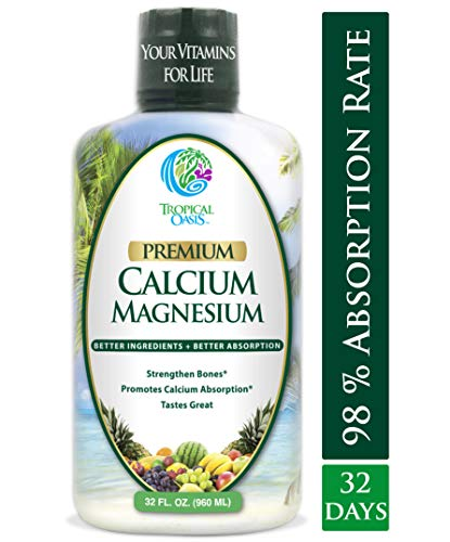 Premium Liquid Calcium Magnesium Citrate - Natural formula w/ support for strong bones - Liquid Vitamin Supplement w/ Calcium, Magnesium, Boron & Vitamin D3 - Up to 98% Absorption Rate- 32oz, 64 Serv