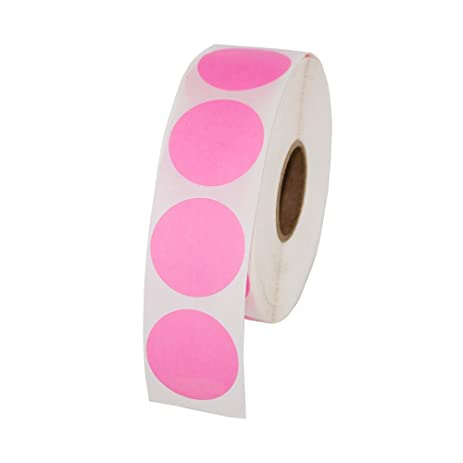 Pink round color coding inventory labeling dot labels stickers 1 inch round labels 1000