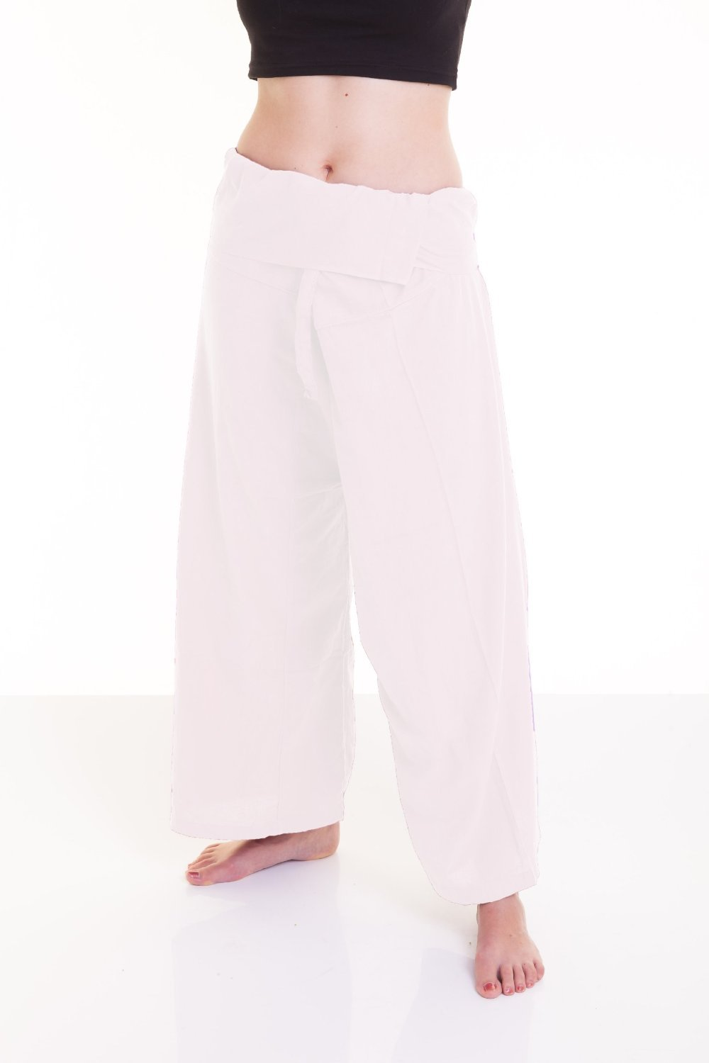 Night Bazaar:Cool Thai Fisherman Pants Yoga Trousers FREE SIZE Plus Size Cotton Rayon bird