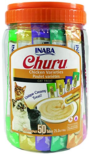INABA Churu Chicken Lickable Creamy Purée Cat Treats 5 Flavor Variety Pack of 50 Tubes