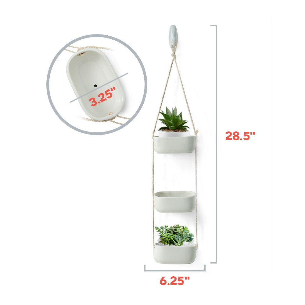 Rectangular Hanging Planter 3 Tier Hanging Plant Pot Rustic