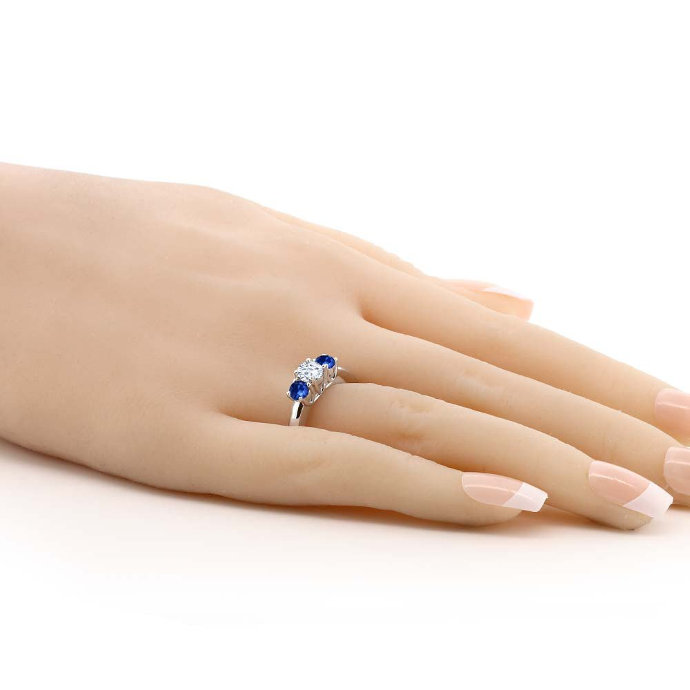 1.22 Ct Round White Created Moissanite Blue Sapphire 925 Sterling Silver Ring (Ring Size 7) by Gem Stone King (Image #2)