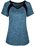 Miusey Shirts for Women, Ladies Summer Short Sleeve Yoga Workout Lightweight Gym Activewear Small Petite Round Neck Easy Fit Fitness Breathable Comfortable Outwear Blue M