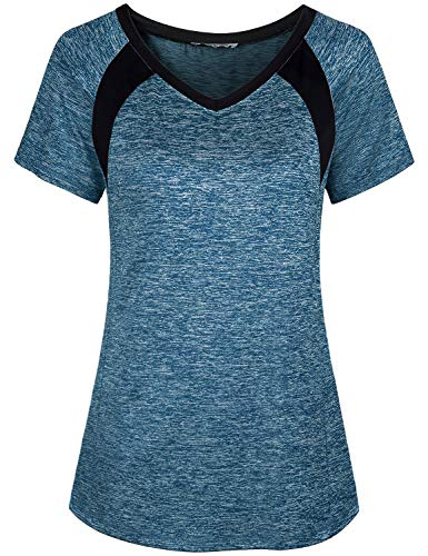 Miusey Shirts for Women, Ladies Summer Short Sleeve Yoga Workout Lightweight Gym Activewear Small Petite Round Neck Easy Fit Fitness Breathable Comfortable Outwear Blue M by Miusey (Image #2)