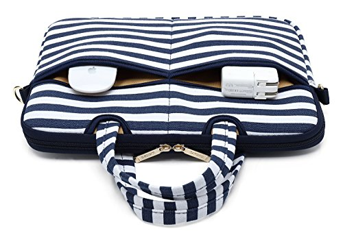 Kayond Canvas Fabric Ultraportable Neoprene Laptop Carrying Case/Shoulder Messenger Bag/Daily Briefcase Work/School/Travel(15-15.6, Breton Stripe) by kayond (Image #3)