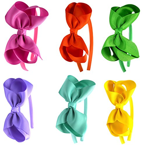 Syleia Fashion Headbands with 4 inch Bow, Set of 6 Pink, Orange, Green, Lavender, Teal and Yellow - School and Playtime Perfect Hair (Headband Pink Green)