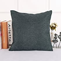 Deconovo Soft Faux Linen Home Decorative Hand Made Pillowcase Cushion Cover with Invisible Zipper