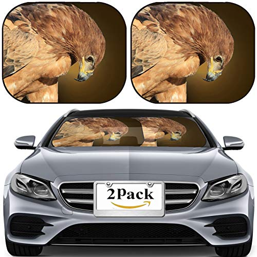 Tawny Eagle - MSD Car Sun Shade for Windshield Universal Fit 2 Pack Sunshade, Block Sun Glare, UV and Heat, Protect Car Interior, Tawny Eagle Wildlife Background from Africa Bow of Greatness 28424199