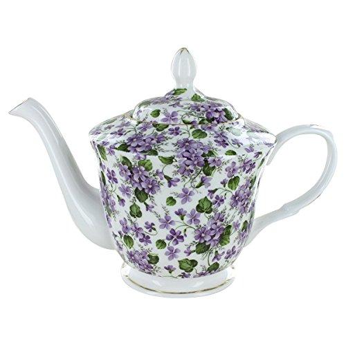 (Gracie's Violets Bone China - 5 Cup Teapot)
