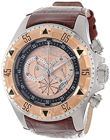 Invicta Men's 12694 Excursion Sport Chronograph Rose Textured Dial Brown Leather Watch (Invicta Reserve Excursion Gold)