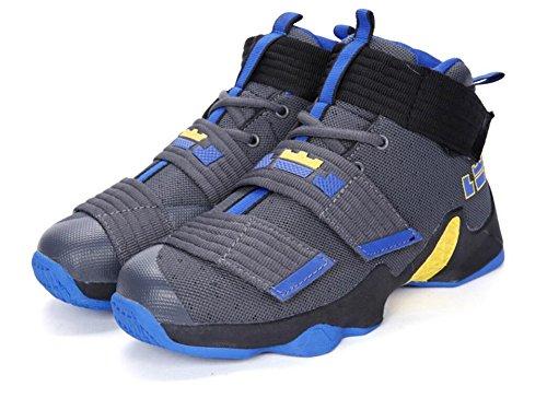Jiye Heren Basketbal Schoenen Voor De Prestaties Van Vrouwen Sport Klittenband Sneakers Van Grijs Blauw-1