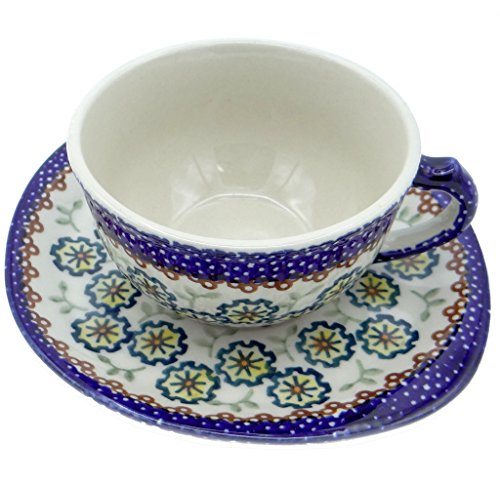 SilverrushStyle - Polish Pottery Teacup & Saucer - Daisies Collection -