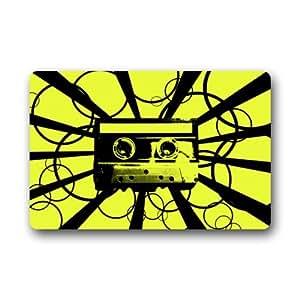 """Abstracto cinta de casete arte Doormats–Felpudo de entrada (Floor Mat felpudo alfombra para interiores/exteriores/puerta delantera/baño alfombrillas de goma antideslizante (23.6x15.7, """"L x W)"""