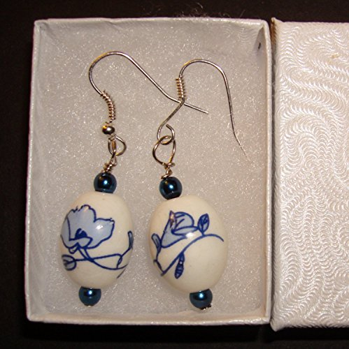 Blue Fluted Porcelain Ball Silver Earring - European Handmade Danish Design Jewelry