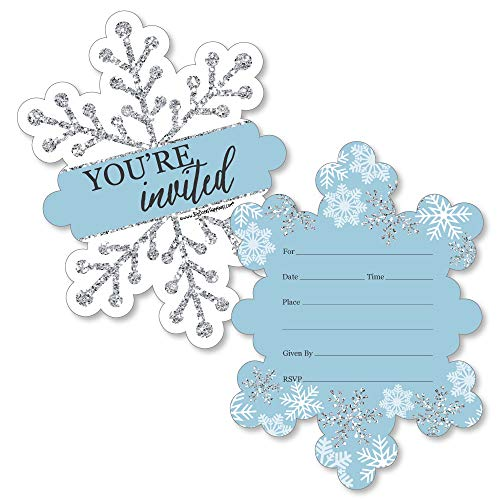 Winter Wonderland Wedding - Winter Wonderland - Shaped Fill-in Invitations - Snowflake Holiday Party and Winter Wedding Invitation Cards with Envelopes - Set of 12