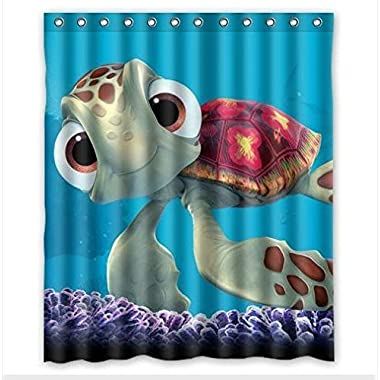 Custom Finding Nemo Cute Turtle Pattern Waterproof Bathroom Shower Curtain 100% Polyester Fabric Shower Curtain Standard Size 66 X 72