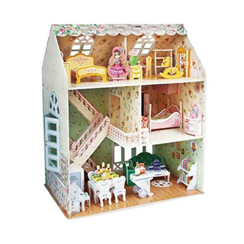NATFUR DIY Miniature Dollhouse Kit Wooden House Model 3D Toy Dolls House Puzzle Toy]()