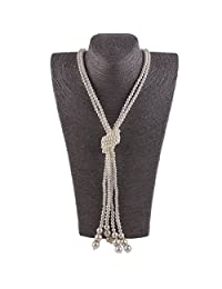 Grace Jun Fashion Faux Pearl Necklace for Women Flapper Cluster Sweater Chain Cute Jewelry 55''