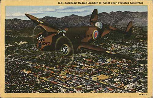 Lockheed Hudson Bomber in Flight Over Southern California Air Force Original Vintage Postcard
