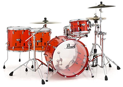 Pearl Crystal Beat Acrylic Drum Set 20/12/14-Ruby Red (Pearl Acrylic Drums)