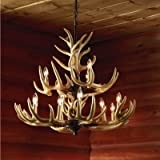 Twelve Light Deer Antler Chandelier Lighting – 36in. Chain For Sale