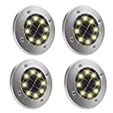 KINGCOO Solar Ground Lights, Waterproof Solar Buried Lights with 8 LED Sensor Solar Path Light Landscape Lighting for Yard Driveway Lawn Pathway-4-Pac (Warm White)