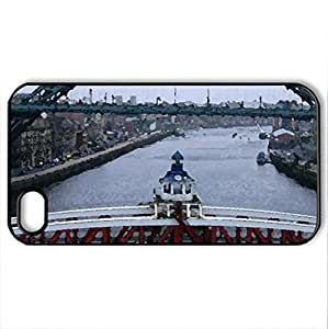 Newcastle Swing Bridge, Tyne Bridge, UK.. - Case Cover for iPhone 4 and 4s (Bridges Series, Watercolor style, Black)