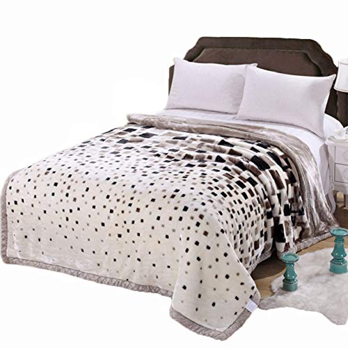 MeMoreCool Seasons Collection Super Soft Plush Raschel Throw Blanket Double Thick Warm Winter Blanket Luxury Grid Style Design Single/Double Blanket Cover 71 by 87 Inches -