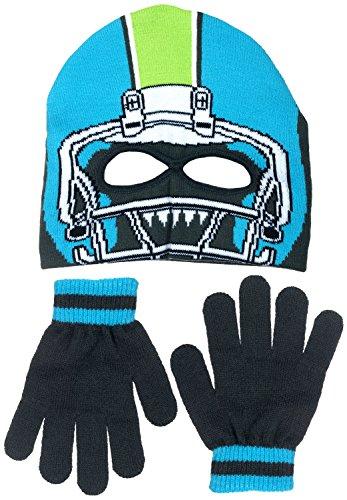 [Polar Wear Boy's Monster Football Player Knit Beanie with Eye Holes & Gloves Set (Blue-Gray)] (Infant Racing Halloween Costume)
