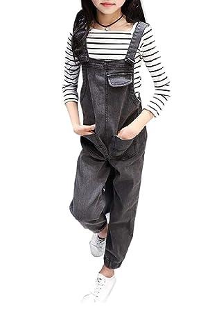 938c4b8b0478 Amazon.com  Joe Wenko Girls  Pocket Cute Denim Overalls Jogger Jean ...
