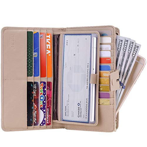 Apricot Stripe - Itslife Women's Big Fat Rfid Leather wallet clutch organizer checkbook holder (Stripe Apricot)