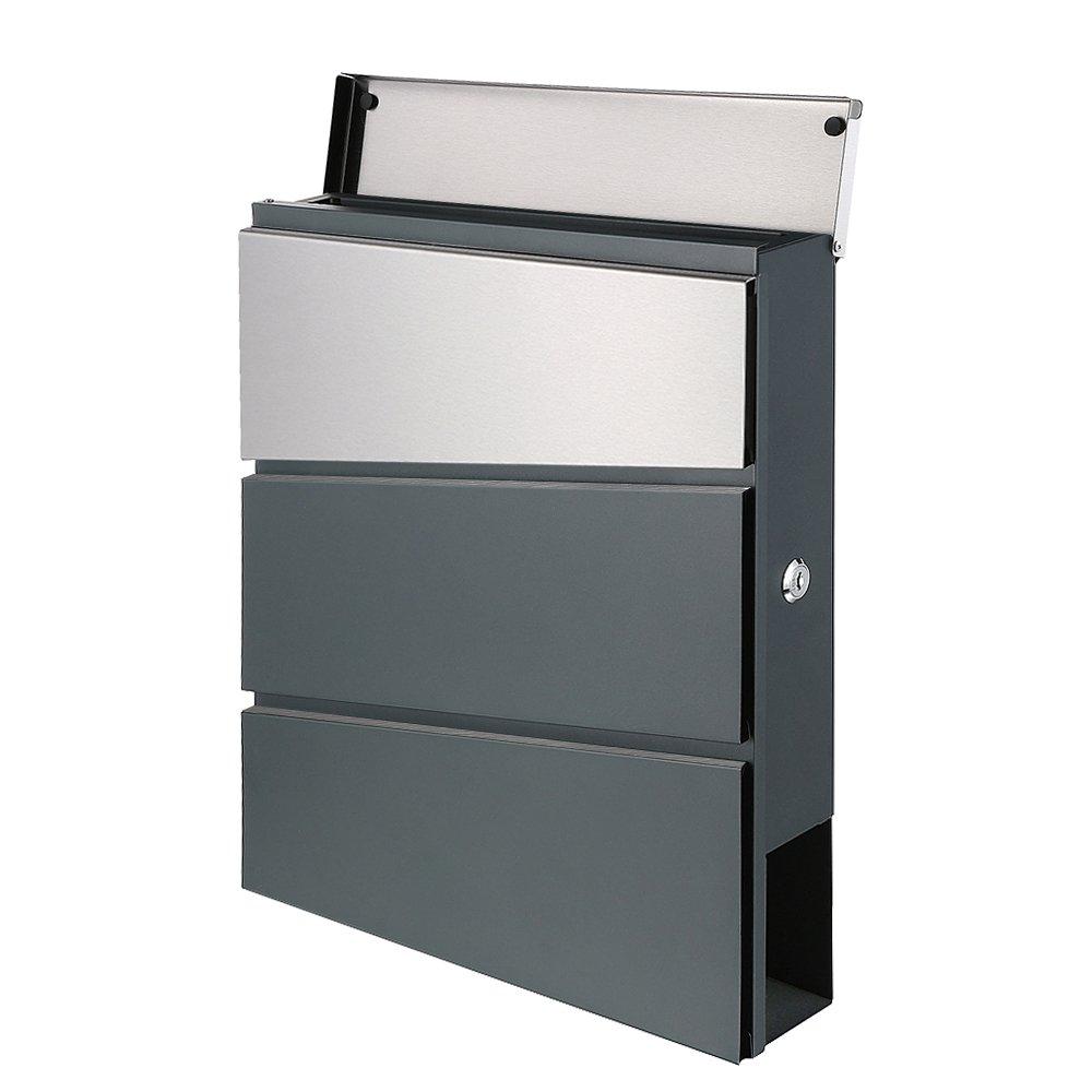 Buz/ón de acero inoxidable gris antracita RAL7016 compartimento para peri/ódicos Buz/ón de pared estrecho dise/ño 33SD