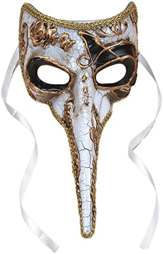 Plague Doctor Venetian Long Nose Mask, White w Gold & Black Accents, 9