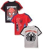 Marvel Little Boys' 3 Pack Spiderman T-Shirts, Gray, 4