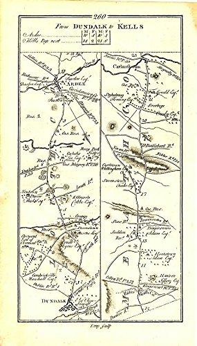 Dundalk to Kells & Monaghan to Enniskillen c.1778 engraved Ireland -