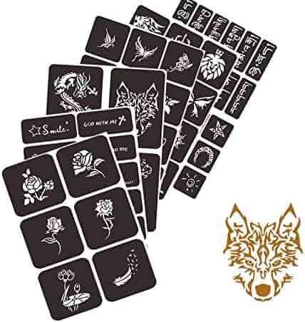 Henna Tattoo Kit Airbrush Glitter Tattoo Stencil Kit Henna