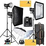 GODOX SK300II 900W 2.4G Photography Flash Studio Strobe Kit Three 300w Sk300II Monolight Lighting,Includes 3X 300W SK300II Strobe Light+3X Light Stand+2X60X90CM Soft Box+GODOX X1T-C for Canon Cameras