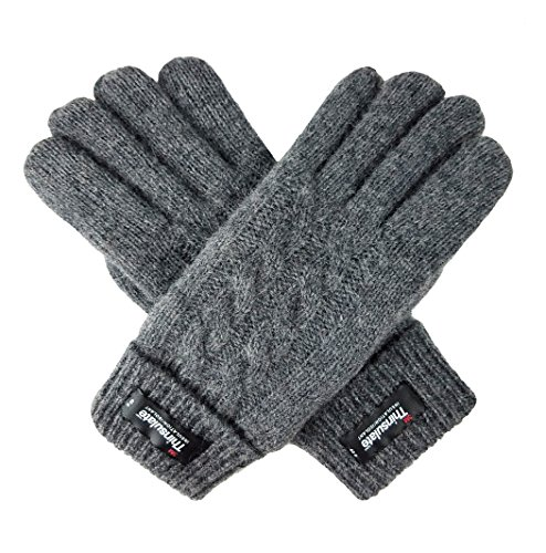 Bruceriver Ladies Pure Wool Knit Gloves Thinsulate Lining and Turnover rib Cuff