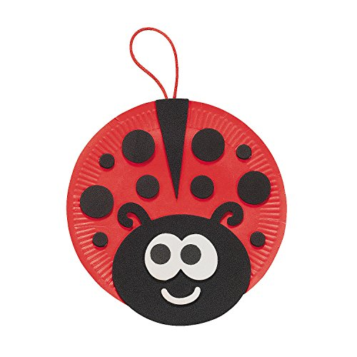 Paper Plate Craft - Fun Express - Ladybug Paper Plate Craft Kit for Spring - Craft Kits - Hanging Decor Craft Kits - Paper Plate Craft Kits - Spring - 12 Pieces